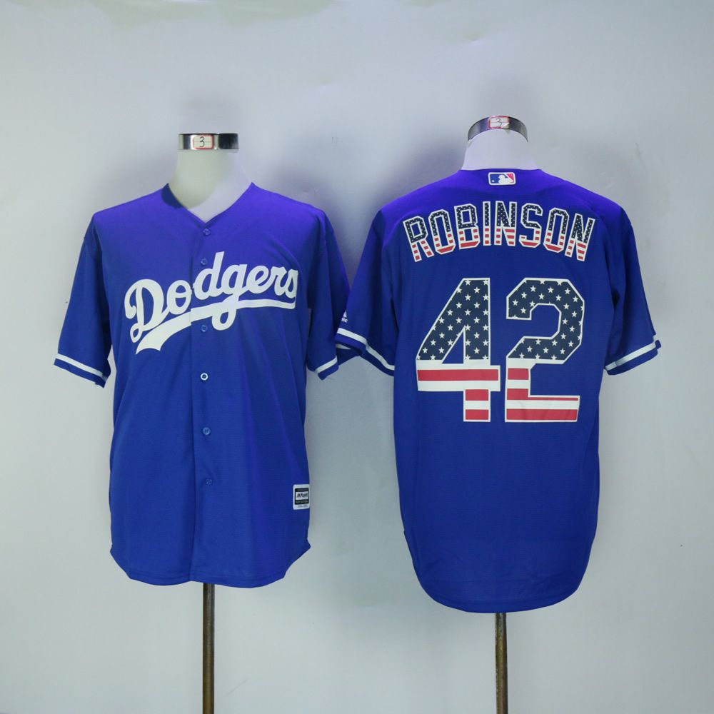 Men Los Angeles Dodgers 42 Robinson Blue National flag MLB Jerseys