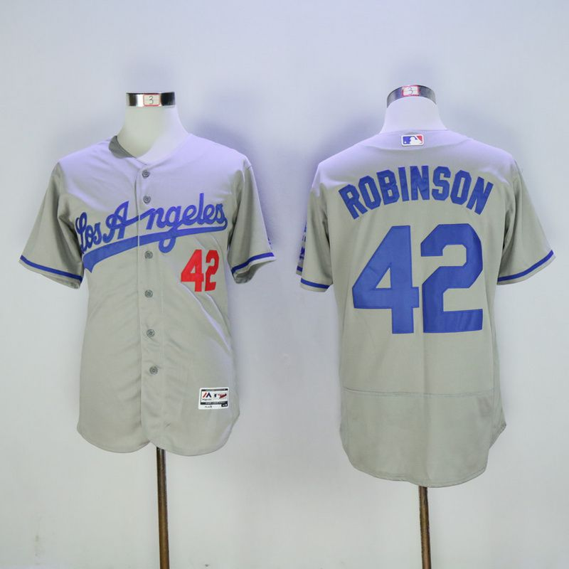Men Los Angeles Dodgers 42 Robinson Grey Throwback Elite MLB Jerseys