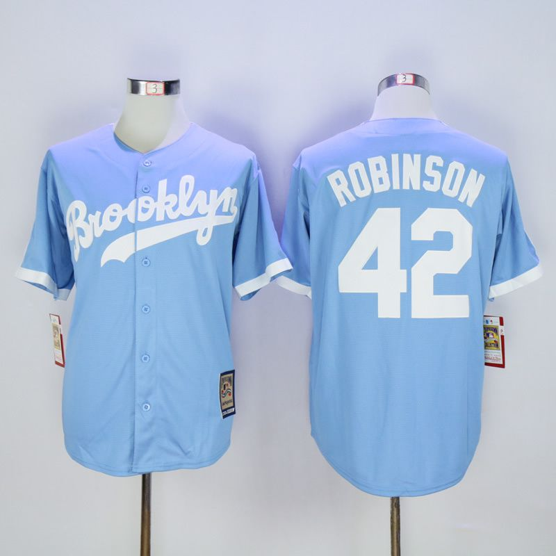 Men Los Angeles Dodgers 42 Robinson Light Blue Throwback MLB Jerseys