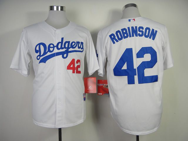 Men Los Angeles Dodgers 42 Robinson White MLB Jerseys