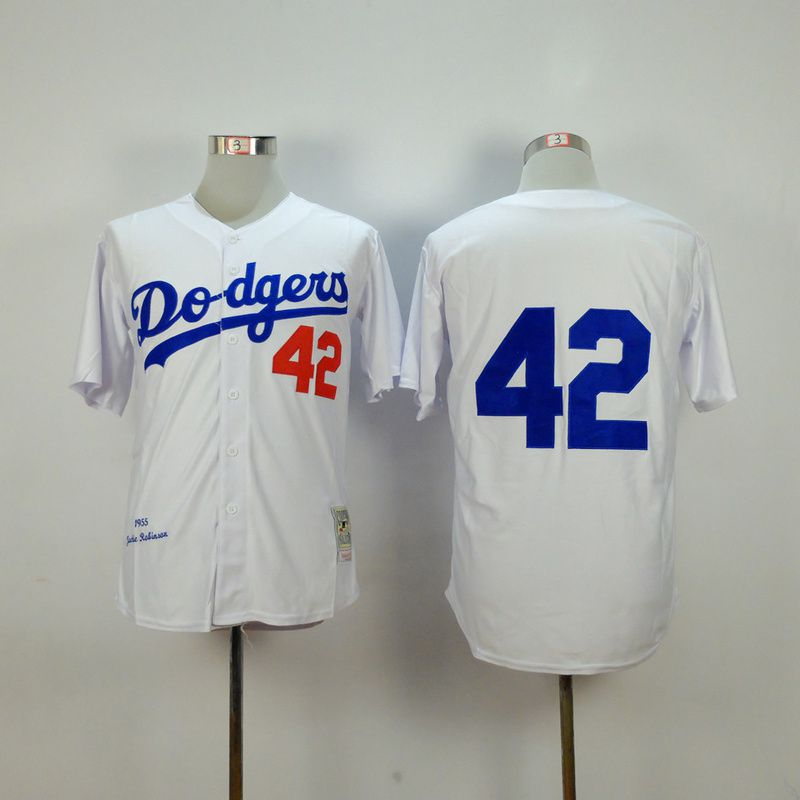 Men Los Angeles Dodgers 42 Robinson White Throwback MLB Jerseys