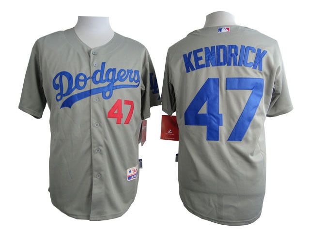 Men Los Angeles Dodgers 47 Kendrick Grey MLB Jerseys
