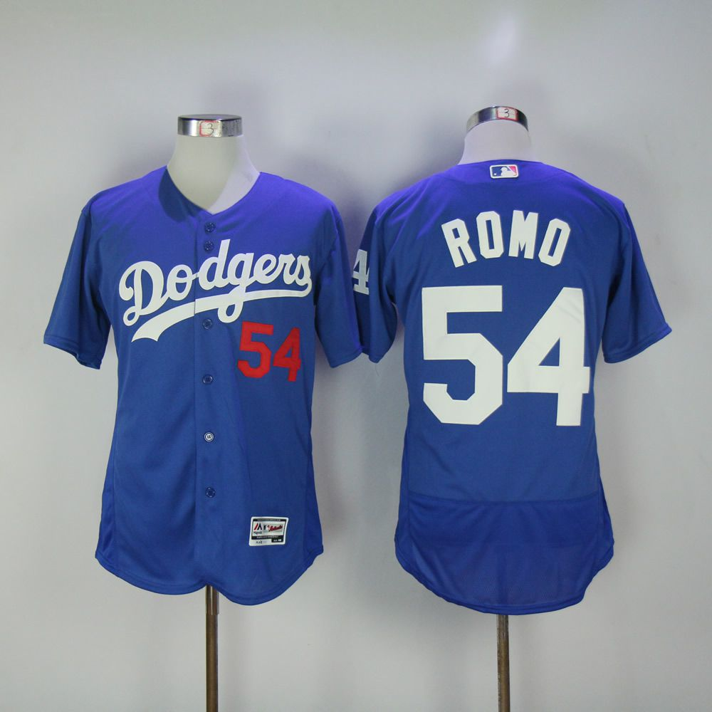 Men Los Angeles Dodgers 54 Romo Blue MLB Jerseys