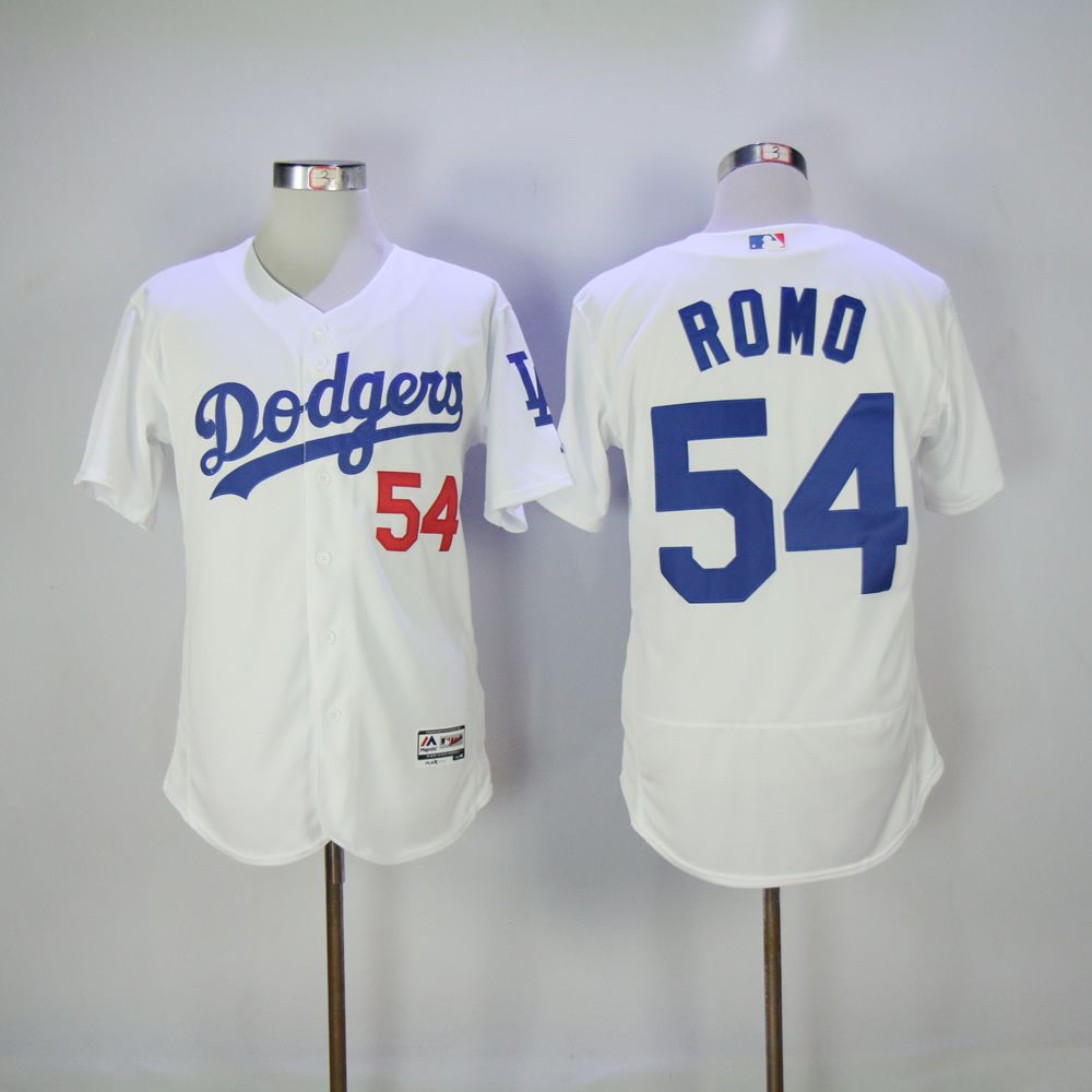 Men Los Angeles Dodgers 54 Romo White MLB Jerseys