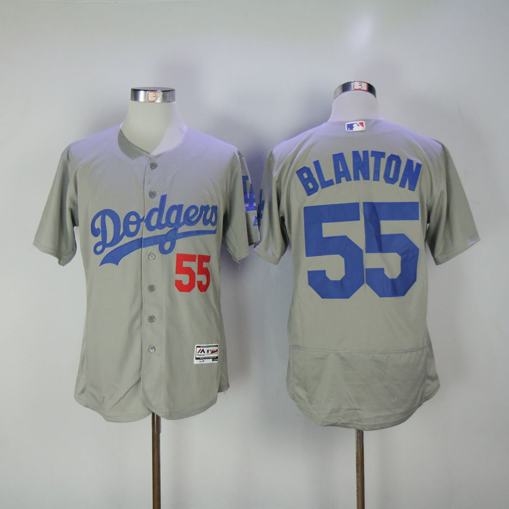 Men Los Angeles Dodgers 55 Blanton Grey Elite MLB Jerseys
