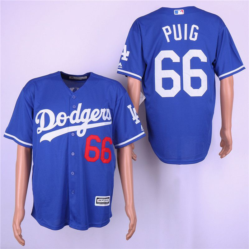 Men Los Angeles Dodgers 66 Puig Blue Game Team mark MLB Jerseys