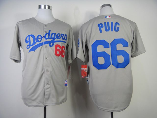 Men Los Angeles Dodgers 66 Puig Grey MLB Jerseys