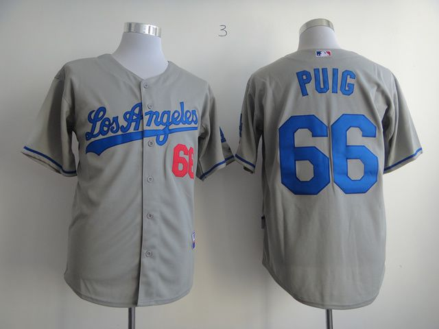 Men Los Angeles Dodgers 66 Puig Grey MLB Jerseys1