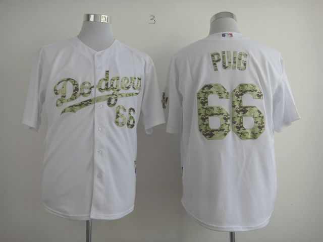 Men Los Angeles Dodgers 66 Puig White Camo MLB Jerseys