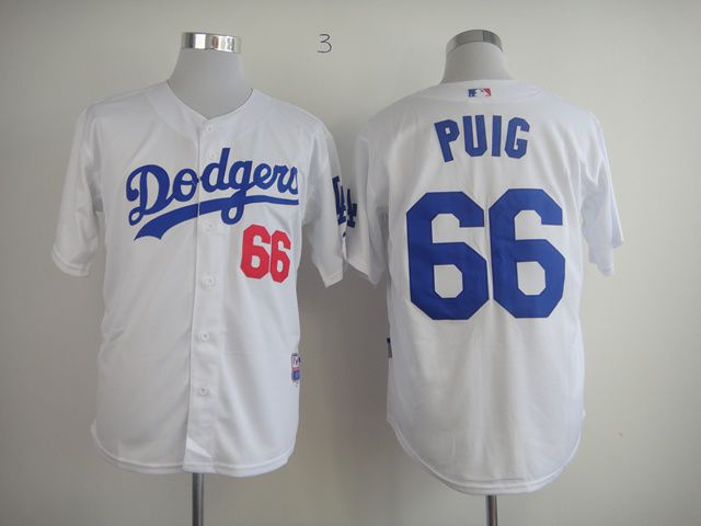 Men Los Angeles Dodgers 66 Puig White MLB Jerseys