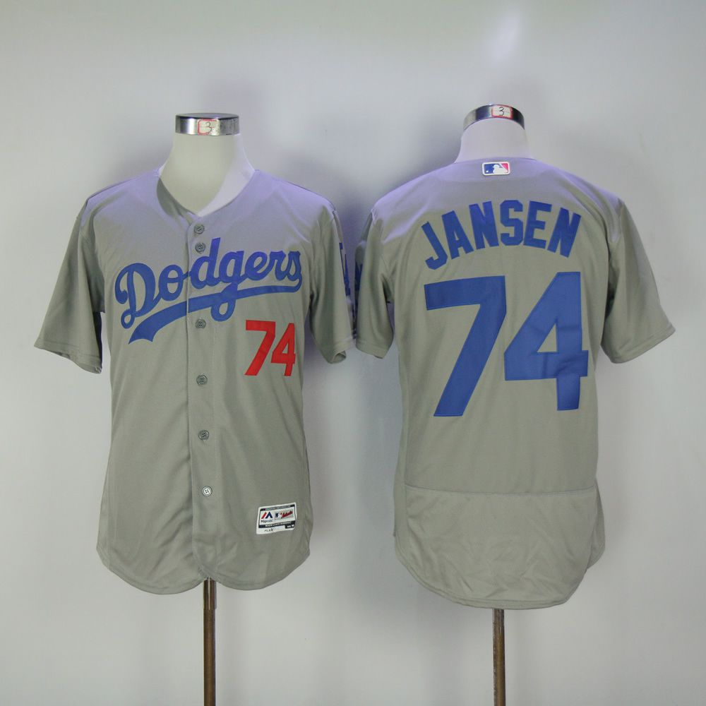Men Los Angeles Dodgers 74 Jansen Grey MLB Jerseys