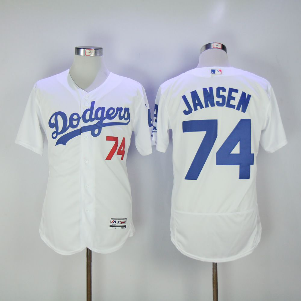 Men Los Angeles Dodgers 74 Jansen White MLB Jerseys