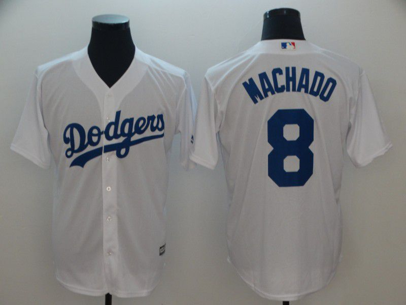 Men Los Angeles Dodgers 8 Machado White Game MLB Jerseys