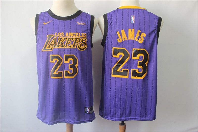 Men Los Angeles Lakers 23 James Purple Stripe Nike Game NBA Jerseys