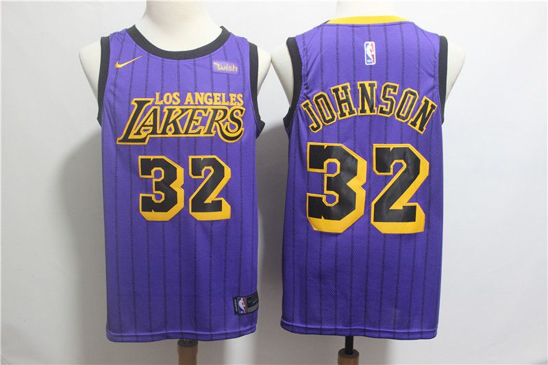Men Los Angeles Lakers 32 Johnson Purple Stripe Nike Game NBA Jerseys