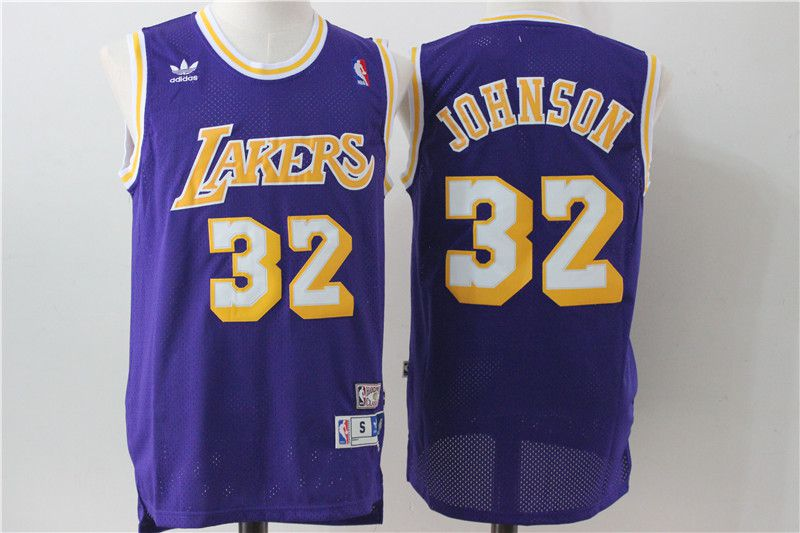 Men Los Angeles Lakers 32 Johnson Purple Throwback NBA Jerseys