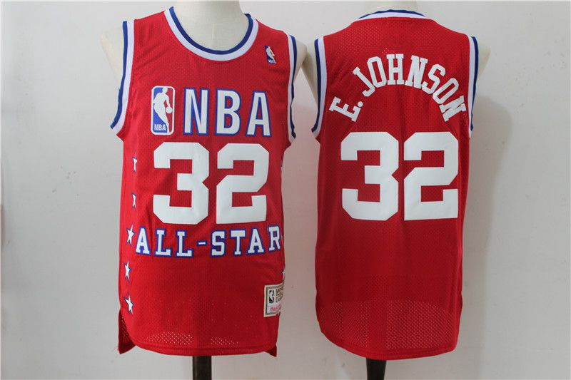 Men Los Angeles Lakers 32 Johnson Red All Star NBA Jerseys
