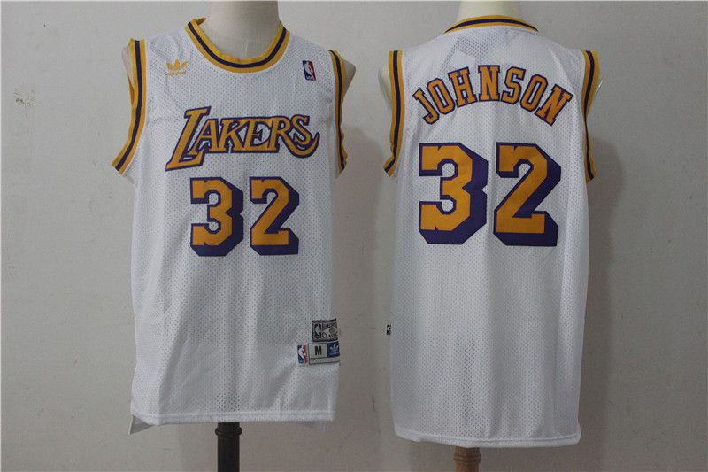 Men Los Angeles Lakers 32 Johnson White Throwback NBA Jerseys