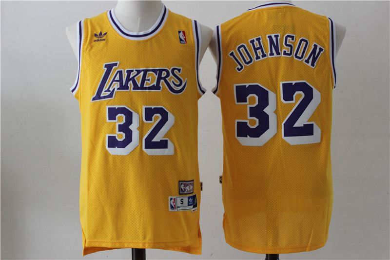 Men Los Angeles Lakers 32 Johnson Yellow Throwback NBA Jerseys
