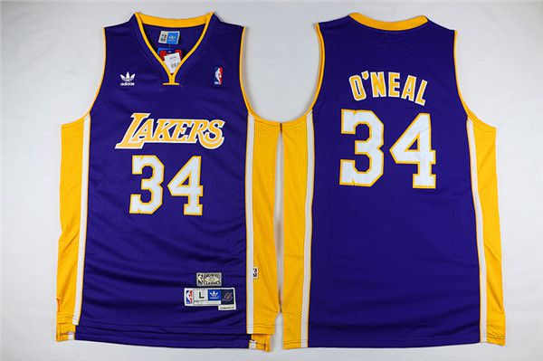 Men Los Angeles Lakers 34 Oneal Purple Throwback NBA Jerseys