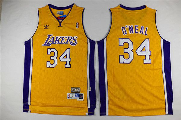 Men Los Angeles Lakers 34 Oneal Yellow Throwback NBA Jerseys