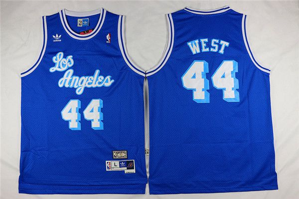 Men Los Angeles Lakers 44 West Blue Throwback NBA Jerseys