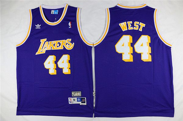 Men Los Angeles Lakers 44 West Purple Throwback NBA Jerseys