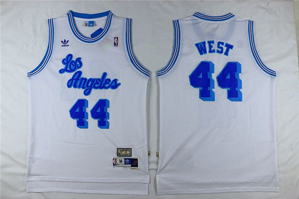 Men Los Angeles Lakers 44 West White Throwback NBA Jerseys