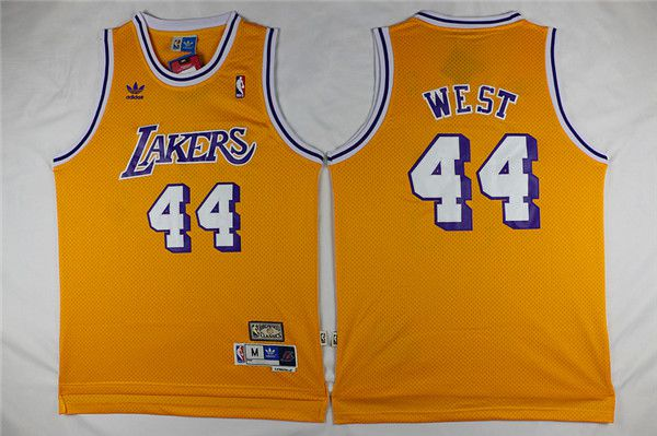 Men Los Angeles Lakers 44 West Yellow Throwback NBA Jerseys
