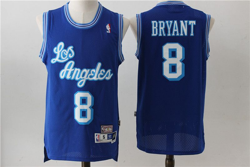Men Los Angeles Lakers 8 Bryant Blue Throwback NBA Jerseys