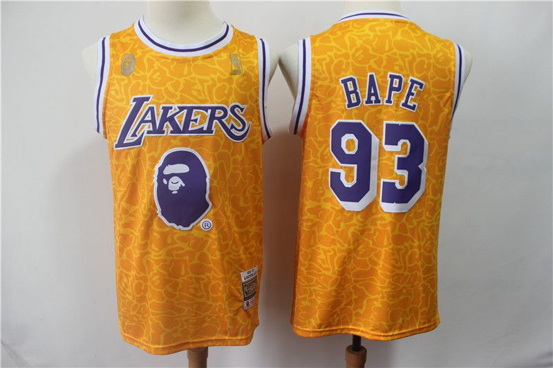 Men Los Angeles Lakers 93 Bape Yellow Nike Game NBA Jerseys