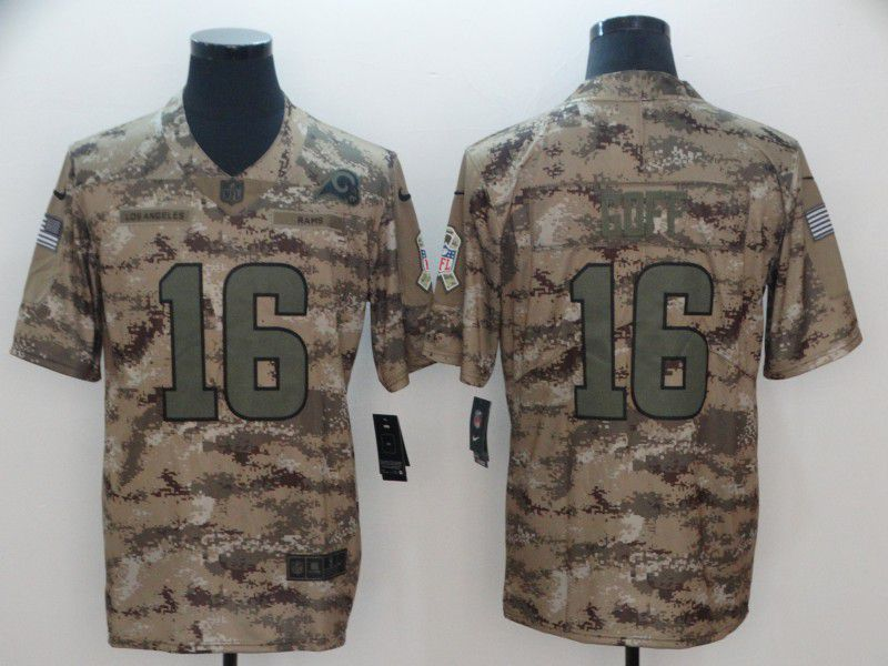 Men Los Angeles Rams 16 Goff Nike Camo Salute to Service Retired Player Limited NFL Jersey