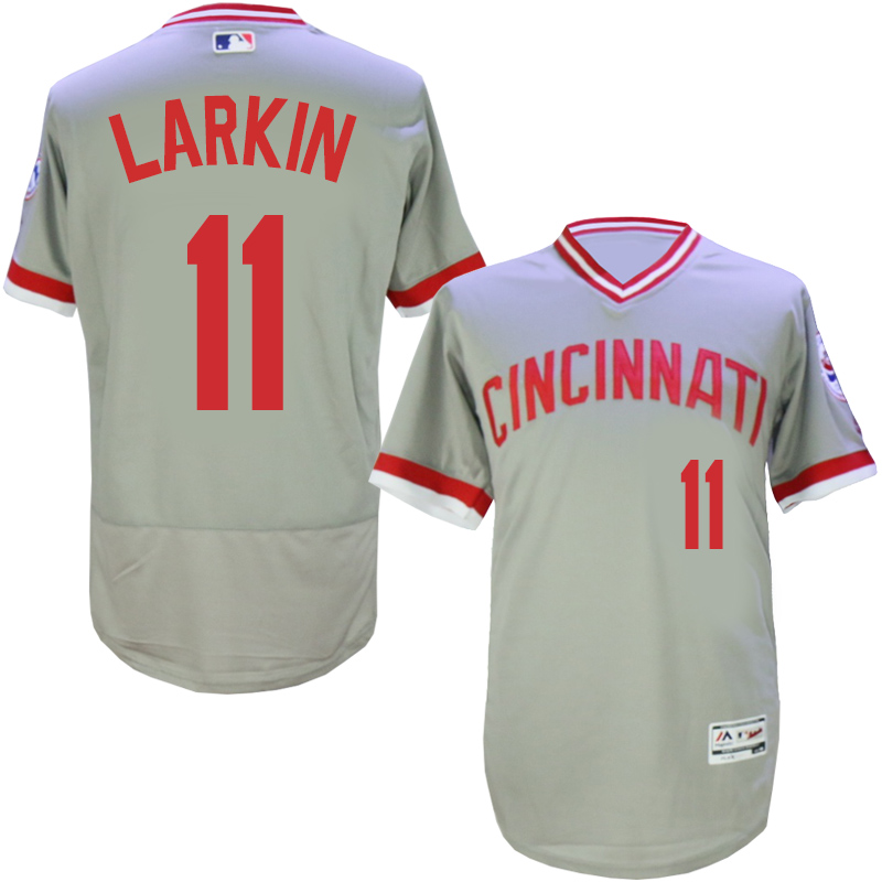 Men MLB Cincinnati Reds 11 Larkin grey throwback 1976 Flexbase jerseys