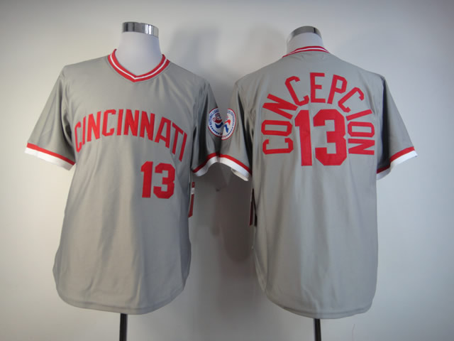 Men MLB Cincinnati Reds 13 Concepcion grey jerseys