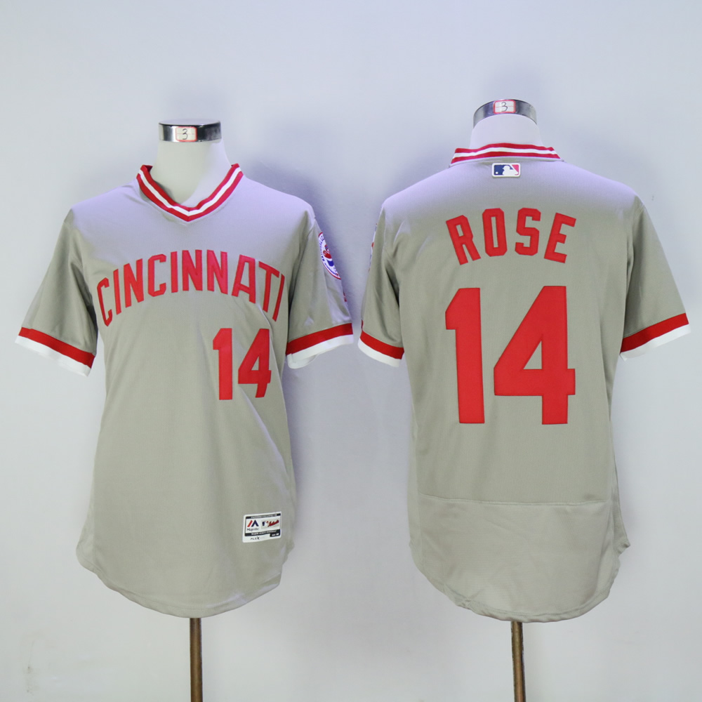 Men MLB Cincinnati Reds 14 Rose grey throwback 1976 jerseys
