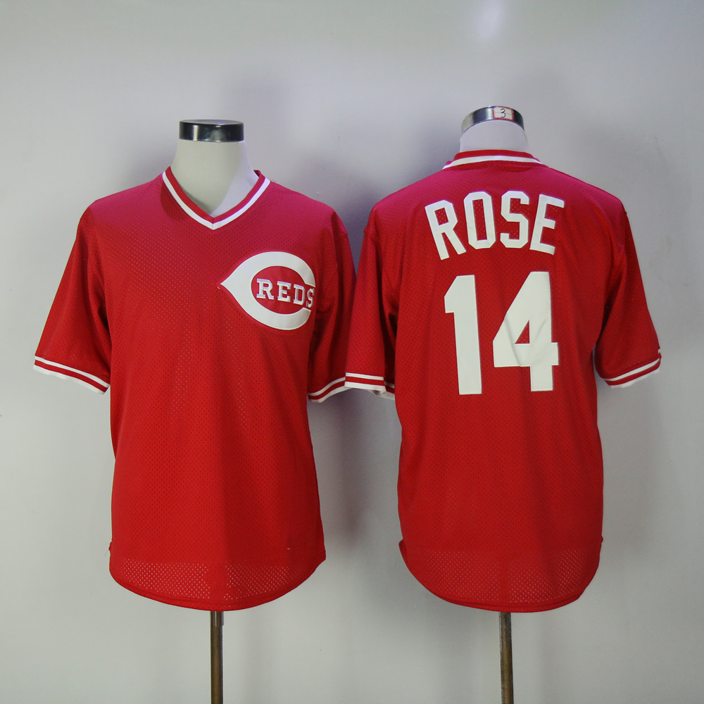 Men MLB Cincinnati Reds 14 Rose red throwback jerseys