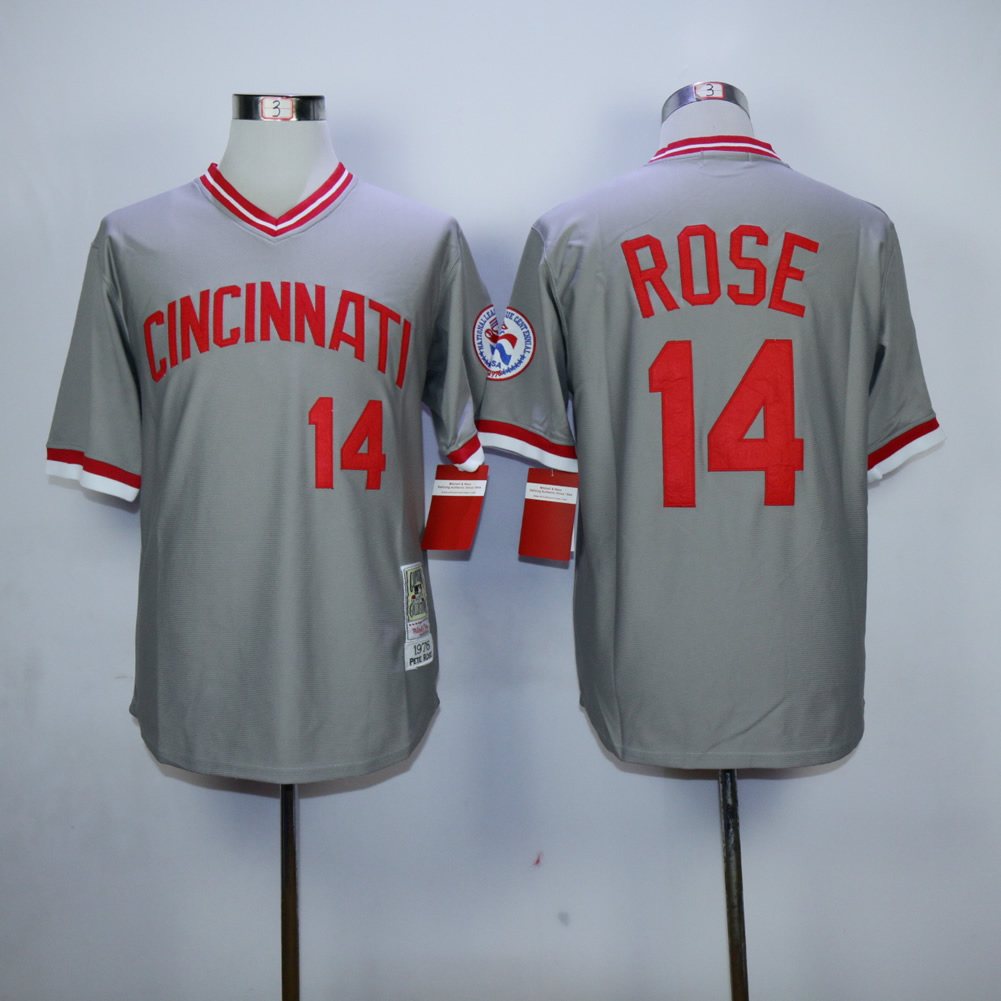 Men MLB Cincinnati Reds 14 Rose throwback grey jerseys