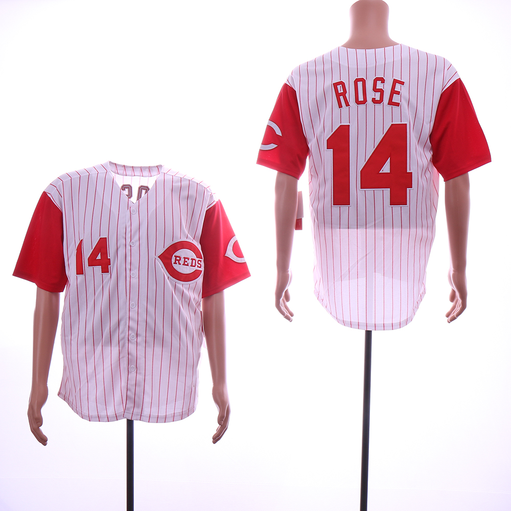 Men MLB Cincinnati Reds 14 Rose white red with strips jerseys