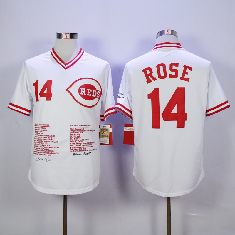Men MLB Cincinnati Reds 14 Rose white throwback jerseys