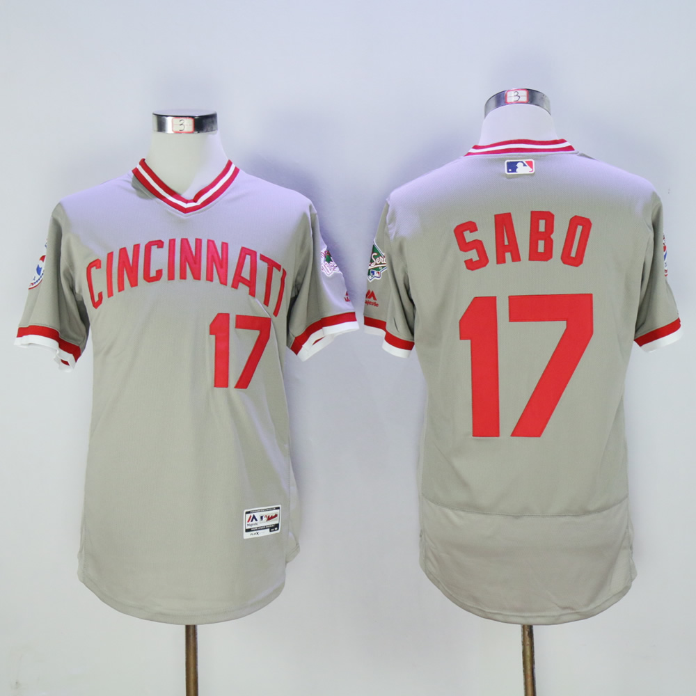 Men MLB Cincinnati Reds 17 Sabo grey throwback 1976 jerseys