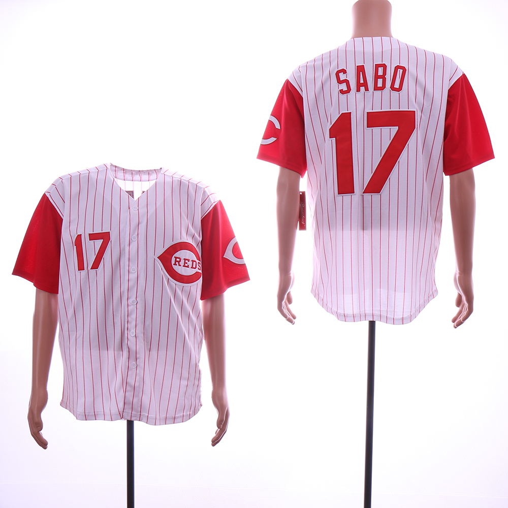 Men MLB Cincinnati Reds 17 Sabo white red with strips jerseys