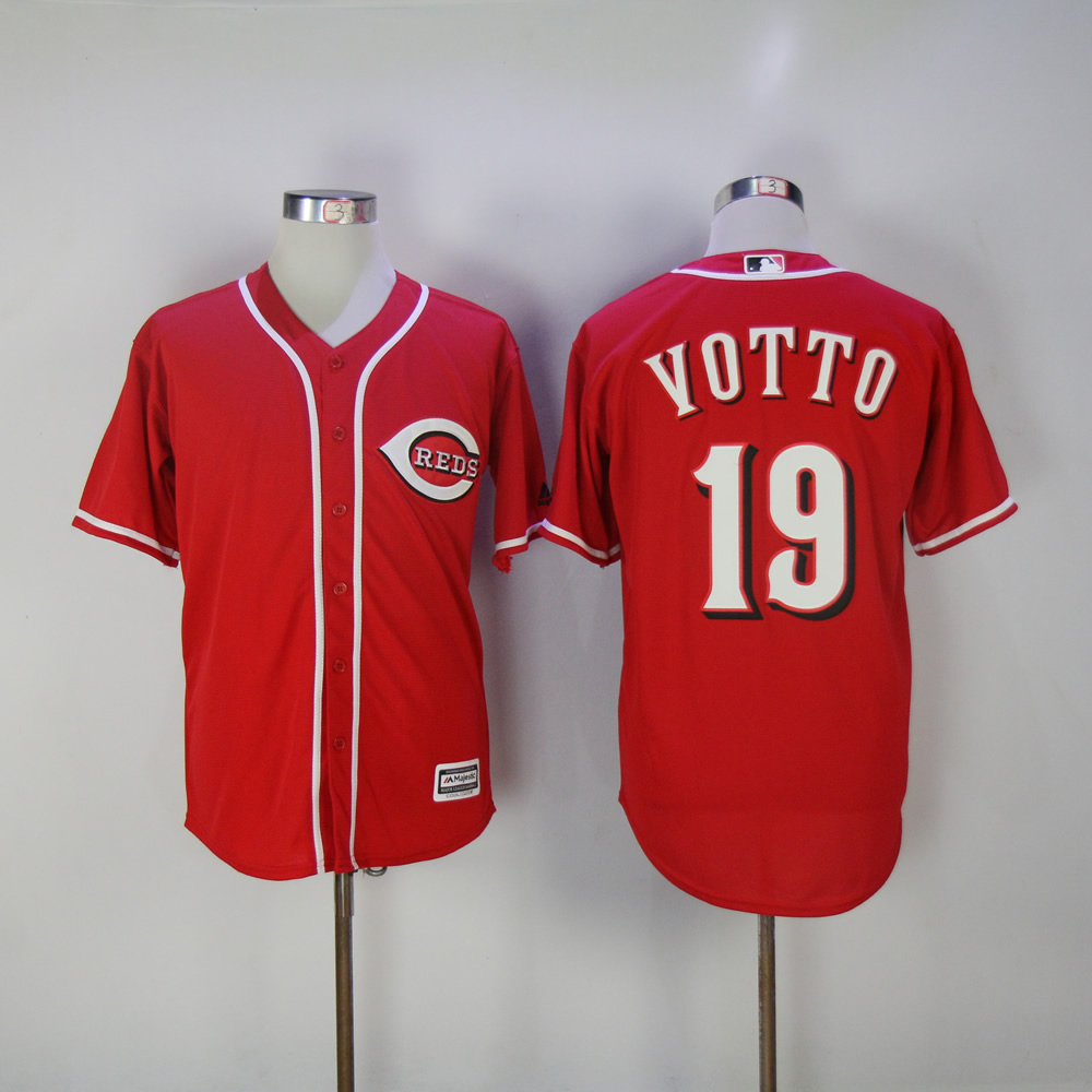 Men MLB Cincinnati Reds 19 Votto red game jerseys