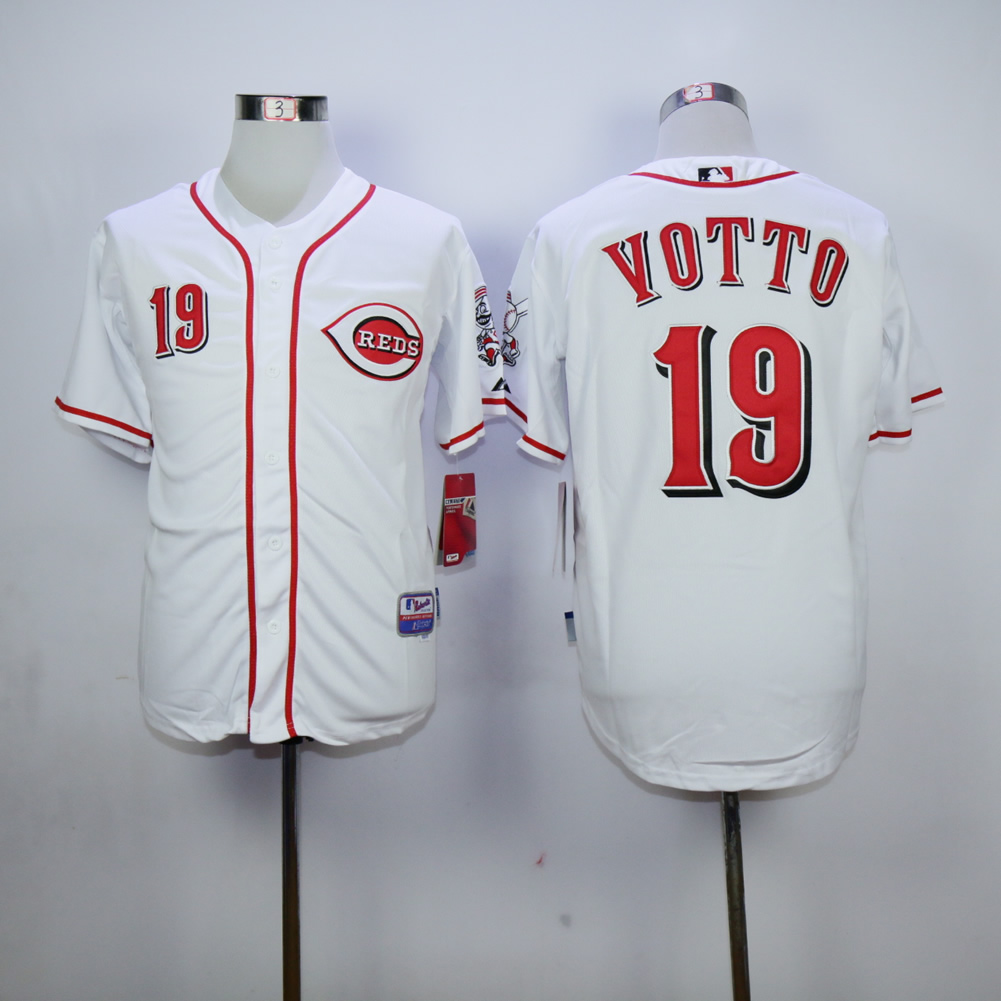 Men MLB Cincinnati Reds 19 Votto white jerseys