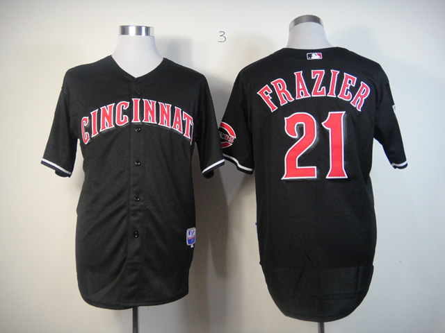 Men MLB Cincinnati Reds 21 Frazier black Fashion jerseys