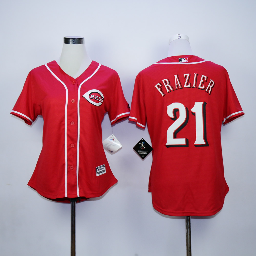 Men MLB Cincinnati Reds 21 Frazier red jerseys