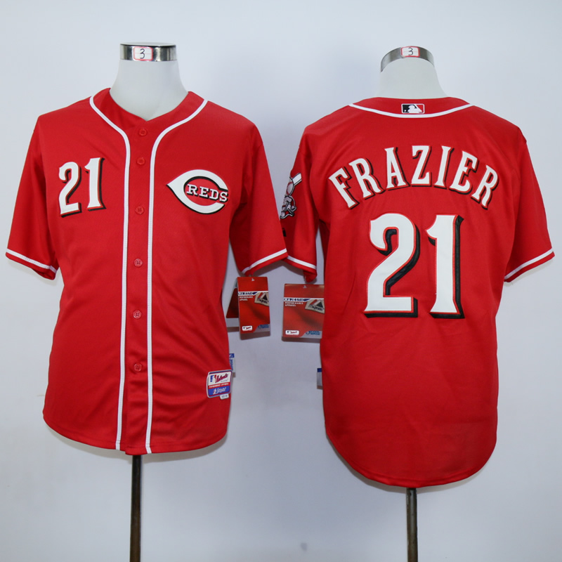 Men MLB Cincinnati Reds 21 Sanders red jerseys