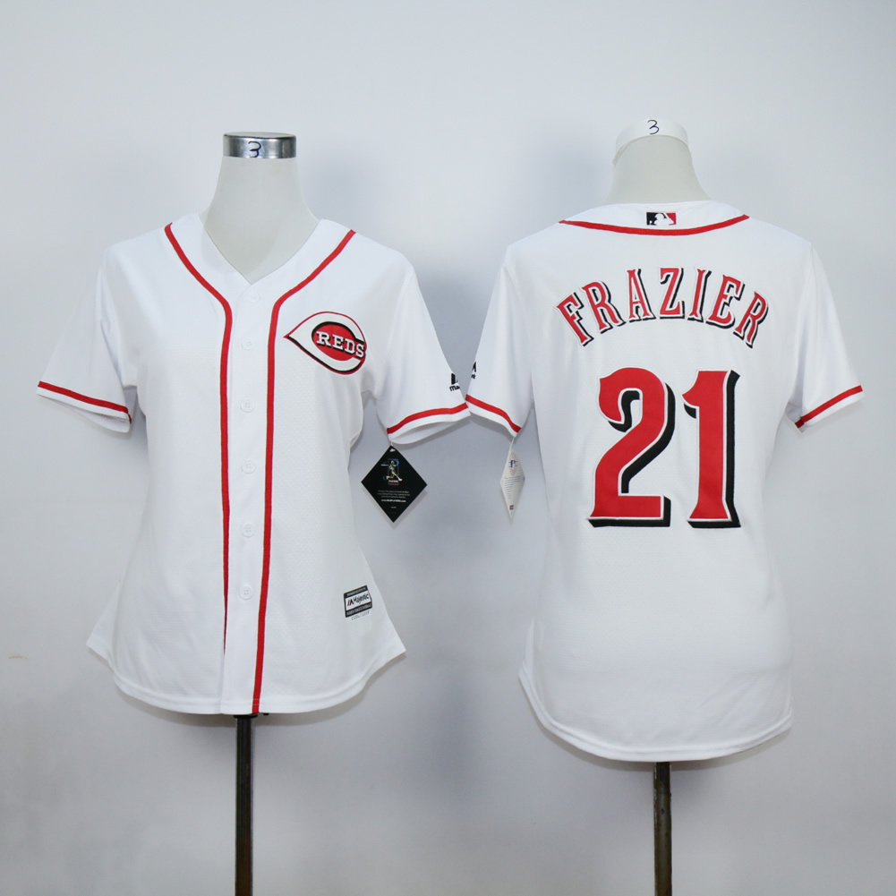 Men MLB Cincinnati Reds 21 Sanders white jerseys