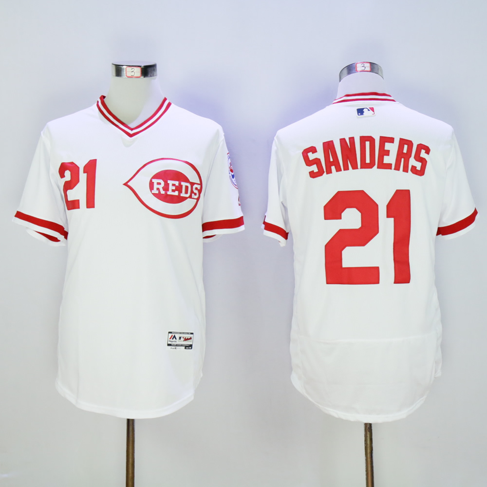 Men MLB Cincinnati Reds 21 Sanders white throwback 1976 jerseys