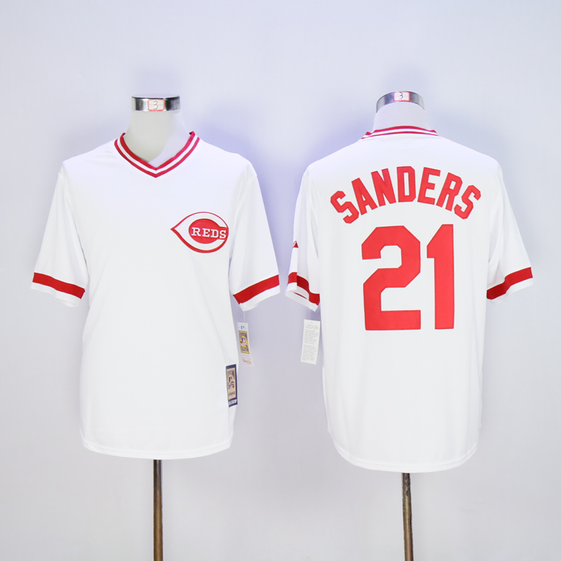 Men MLB Cincinnati Reds 21 Sanders white throwback jerseys