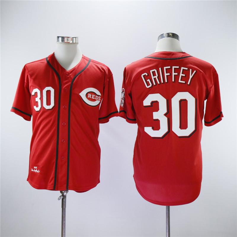 Men MLB Cincinnati Reds 30 Griffey red throwback jerseys